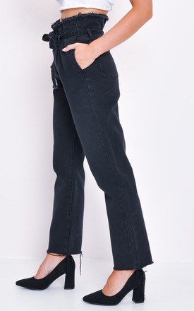 Denim Frayed Hem Paperbag Jeans Black by LILY LULU FASHION