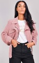 Corduroy Cropped Biker Jacket Pink by LILY LULU FASHION