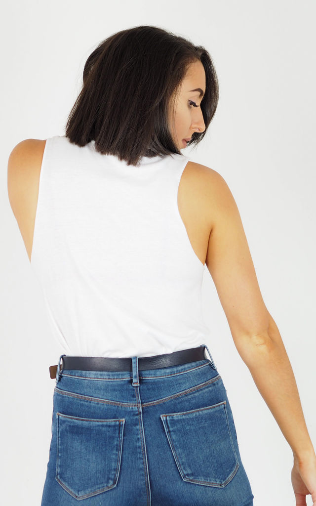 White Slouch Vest Top - Plain by Rock On Ruby