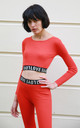 Crop Top and Leggings Co-ord with Love Logo on Elastic Bands in Orange by CY Boutique