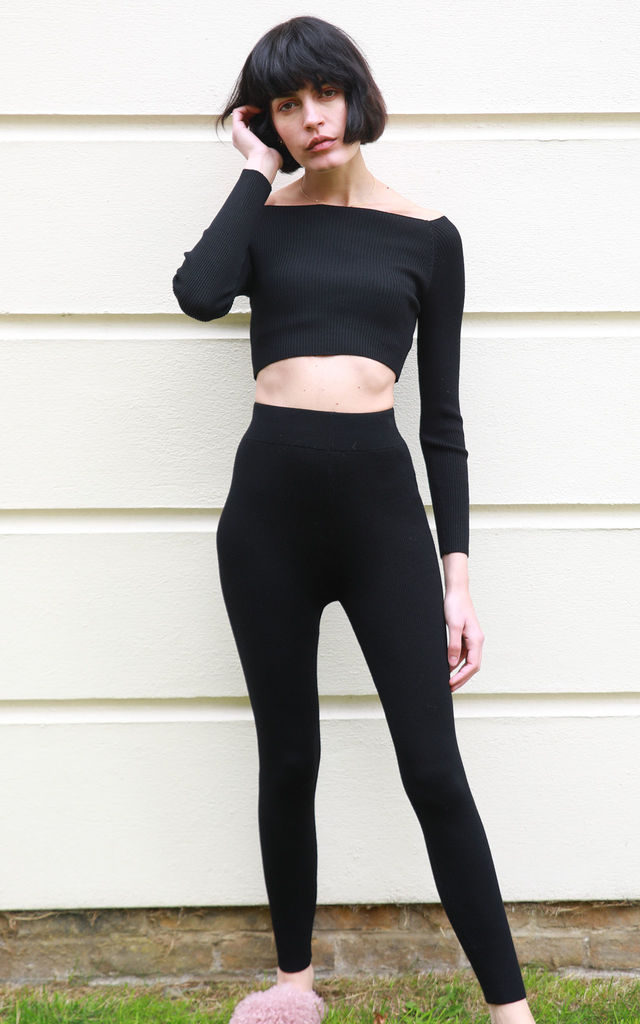 e512c03529 Off Shoulder Crop Top And Leggings Co Ord In Black | CY Boutique ...