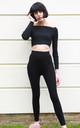 Off Shoulder Crop Top and Leggings Co-Ord in Black by CY Boutique