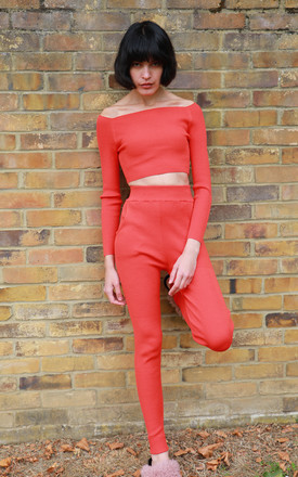 Off Shoulder Crop Top and Leggings Co-Ord in Orange by CY Boutique