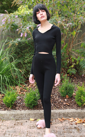 Hooded Crop Top and Leggings Set in Black by CY Boutique