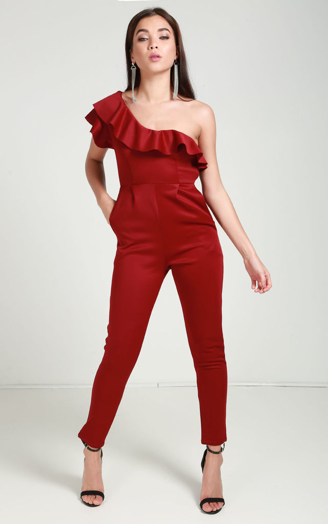 f0cfacce354c One Shoulder Frill Detail Jumpsuit | Reckless Doll | SilkFred