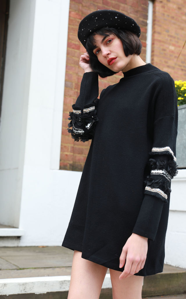 Jumper with Floral and Sequin Embellished Sleeves in Black by CY Boutique