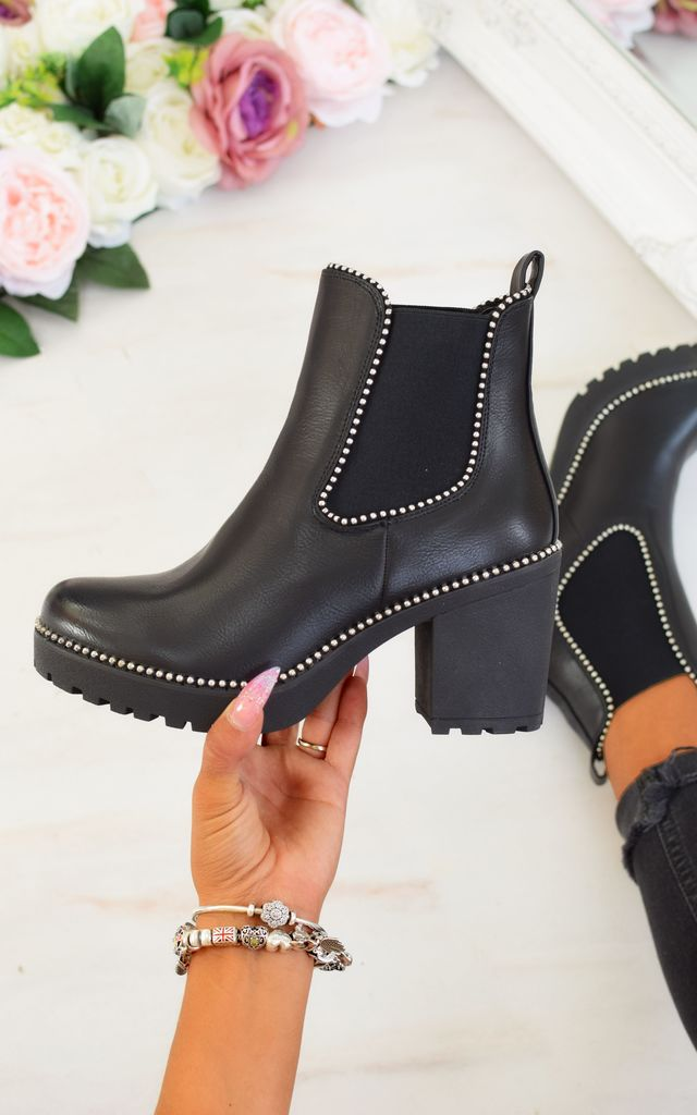 Studded Block Heel Ankle Boots - Black by AJ | VOYAGE