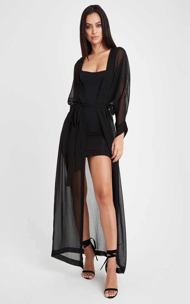 Maxi Sheer Kimono - Black by Neish Clothing
