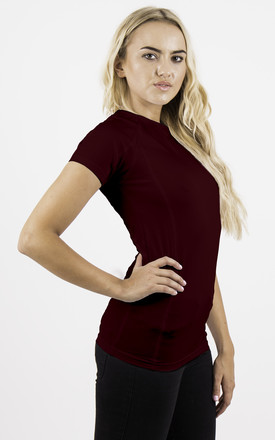 Burgundy Fitness Short Sleeve Fitted Sporty Stretch Top by MISSTRUTH