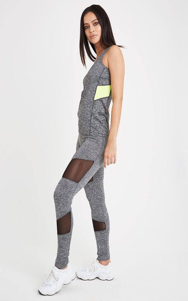 Mesh Insert Sports Vest - Grey/Yellow by Neish Clothing