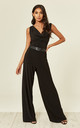 Ariana Black Cowl Neck Jumpsuit by Revie London