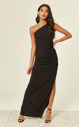 Angelina Black One Shoulder Maxi Bridesmaid Dress by Revie London Product photo