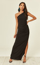 Angelina black one shoulder maxi bridesmaid dress by Revie London
