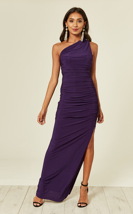 Angelina Purple One Shoulder Maxi Bridesmaid Dress by Revie London Product photo