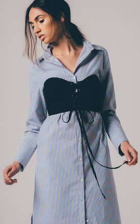 Stripe Shirt Dress With Corset Overlay by Neon Rose
