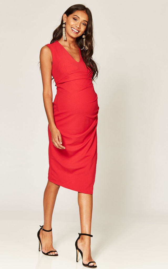 Red Maternity Wrap Front Dress by Phoenix & Feather