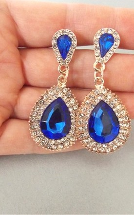Electric Blue Jewelled Teardrop Earrings by Olivia Divine Jewellery Product photo