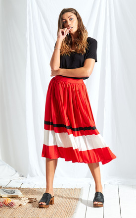 Sports Stripe Pleated Midi Skirt by Neon Rose