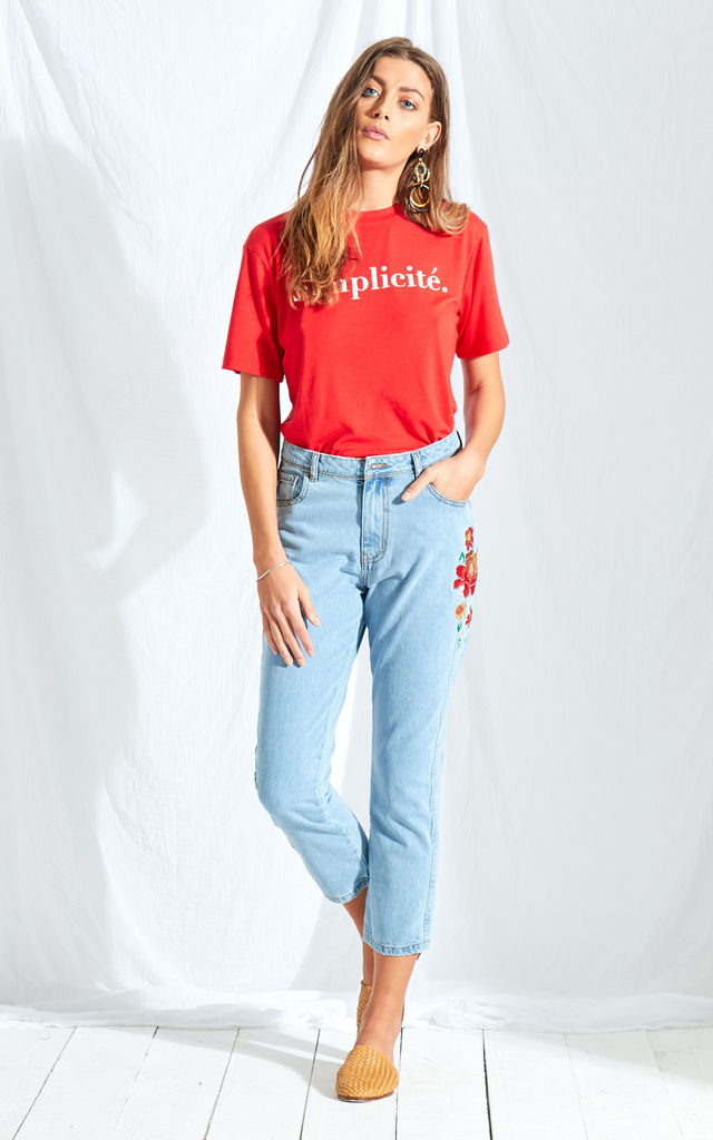 Denim Embroidered Mom Jeans by Neon Rose