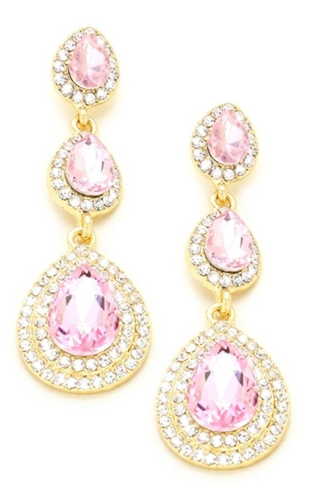 Pink Crystal Three Tier Teardrop Earrings by Olivia Divine Jewellery