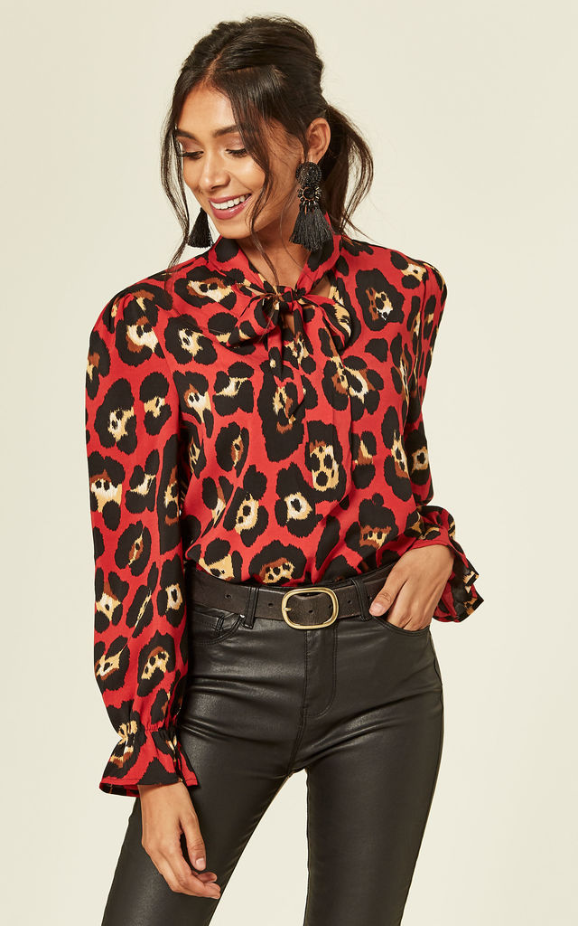 474eb397dc Pussy Bow Leopard Print Blouse in Red by Foreva Young
