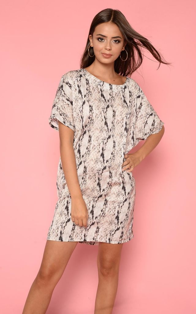 8c2d2e3b4d06 Cream Oversized Snake Print T Shirt Dress By Hachu