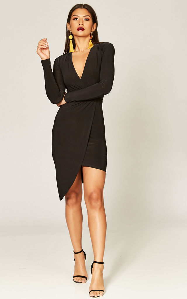 ec49bf19a Black Asymmetric Wrap Dress With Long Sleeves | Phoenix + Feather ...