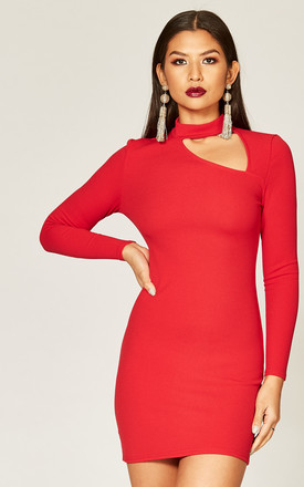 Red choker cut out detail dress by Phoenix & Feather