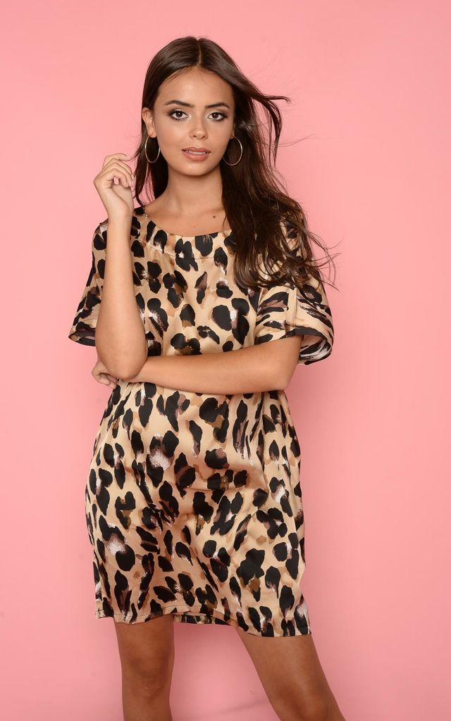 c628d87a871c Gold Oversized Leopard Print T Shirt Dress | Hachu | SilkFred