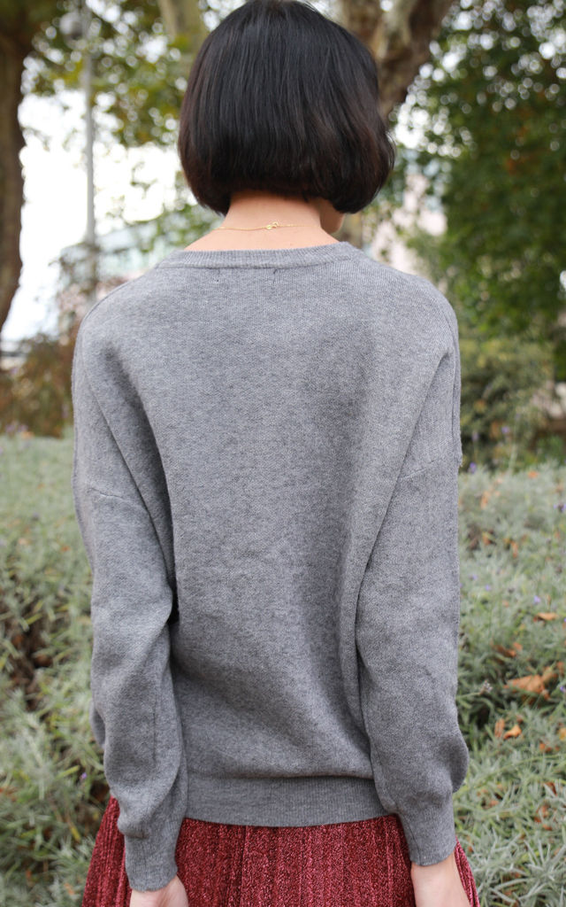 Long Sleeve Jumper with Sequin Slogan Embellishments in Grey by CY Boutique