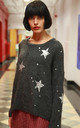 Long Sleeve Jumper with Star Print and Distressed Details in Dark Grey by CY Boutique