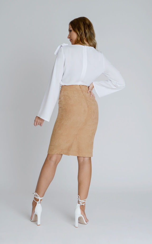 Alexa Suedette Pencil Skirt in Tan by Zalinah White