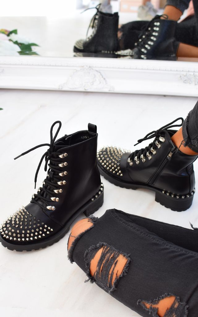 Spike Studded Lace Up Biker Boots - Black by AJ | VOYAGE