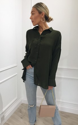 Zeffy Oversized Boyfriend Shirt - Khaki by Pretty Lavish