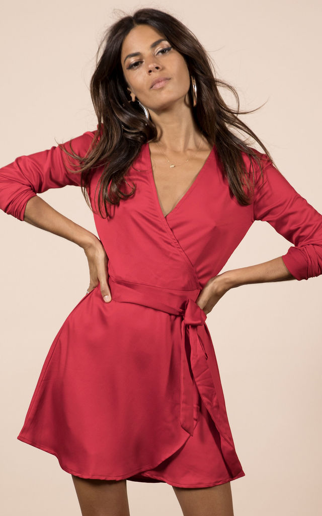 MARLEY WRAP DRESS IN RED by Dancing Leopard