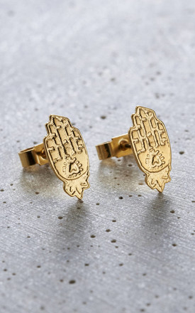 Yellow Gold Hamsa Hand Stud Earrings by Posh Totty Designs