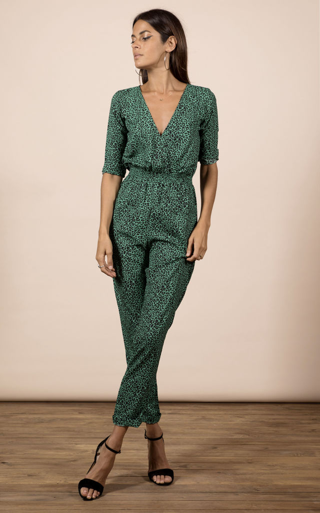 ZION JUMPSUIT IN GREEN LEOPARD image