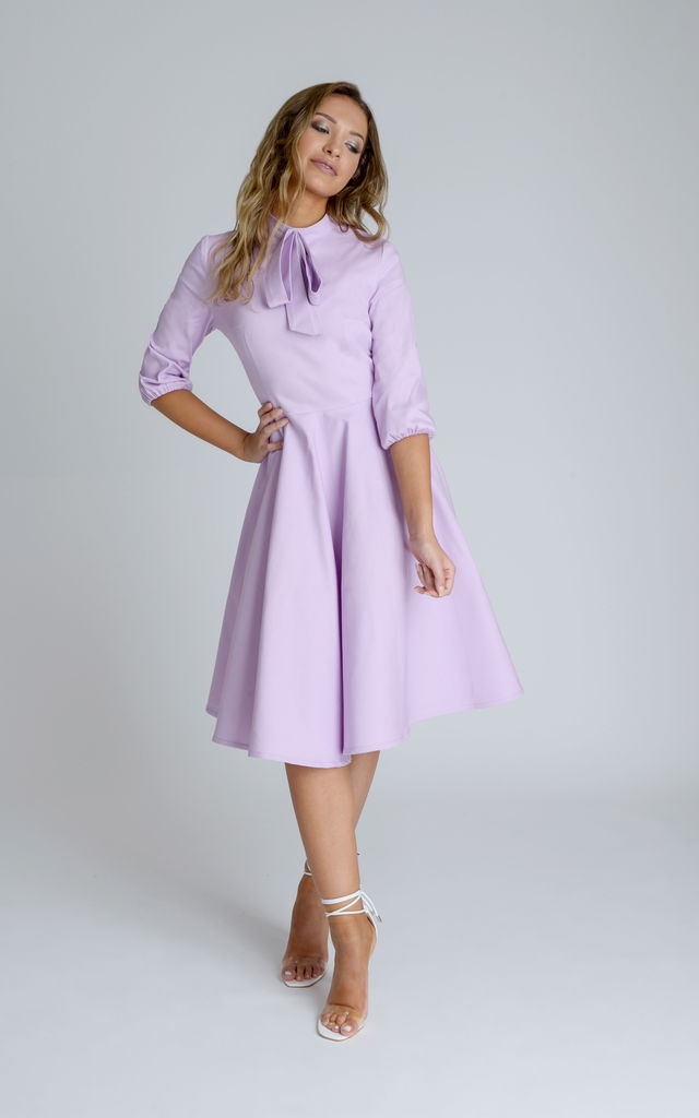 476ed725e4ef Alice Skater Midi Dress in Lilac Purple With Neck Bow by Zalinah White