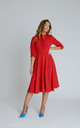 Alice Silky Crepe Swing Midi Dress in Red With Neck Bow by Zalinah White