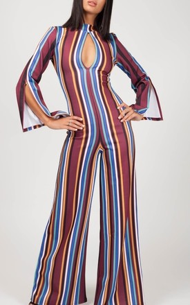 Alessia Keyhole Front Striped Jumpsuit In Wine by Vivichi Product photo