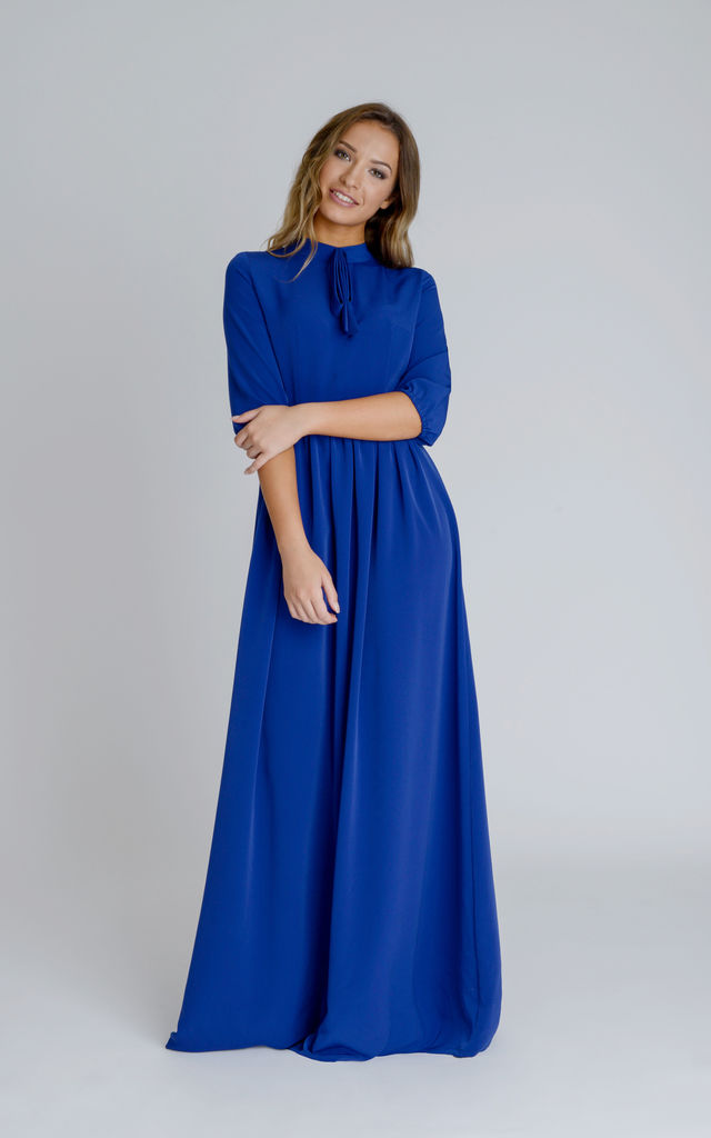 aa1f56f8f5e4a9 Amber Straight Cut Maxi Dress in Royal Blue Crepe With Neck Bow by Zalinah  White