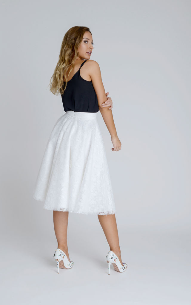 Angelica Glamorous Swing Lace Skirt in Soft White by Zalinah White