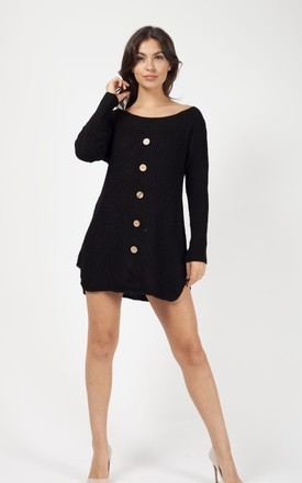 Kallera Button Detail Knitted Jumper Dress In Black by Vivichi Product photo