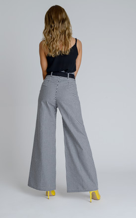 Arlene Wide Leg Smart Casual High Waisted Trousers (Co Ord) in Black and White Gingham by Zalinah White