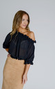 Ashley Bardot Top in Black Crepe by Zalinah White