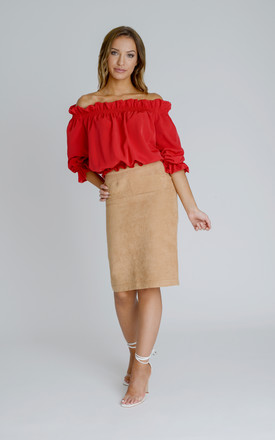 Ashley Bardot Top in Red Crepe by Zalinah White