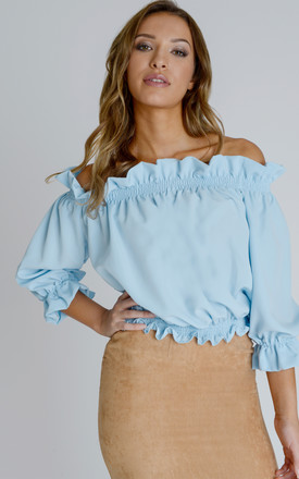 Ashley Bardot Top in Sky Blue Crepe by Zalinah White