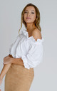Ashley Bardot Top in White Crepe by Zalinah White