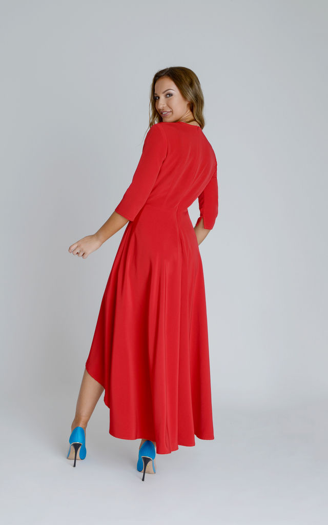Assana Silky Crepe Swing Midi Dress in Red With Asymmetric Hemline by Zalinah White