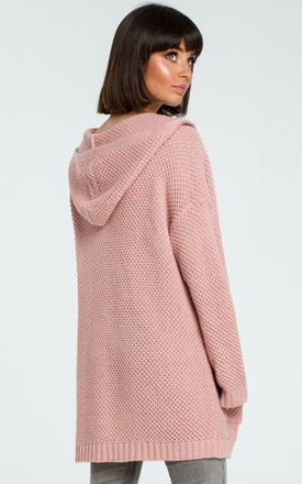 Pink Open Hooded Cardigan by MOE